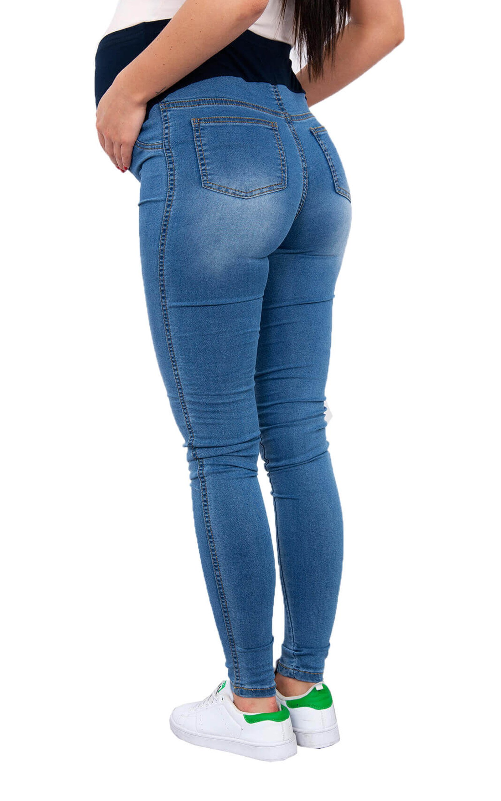 WozWoz Womens Maternity Jeans Skinny (Large, Blue Jeans)