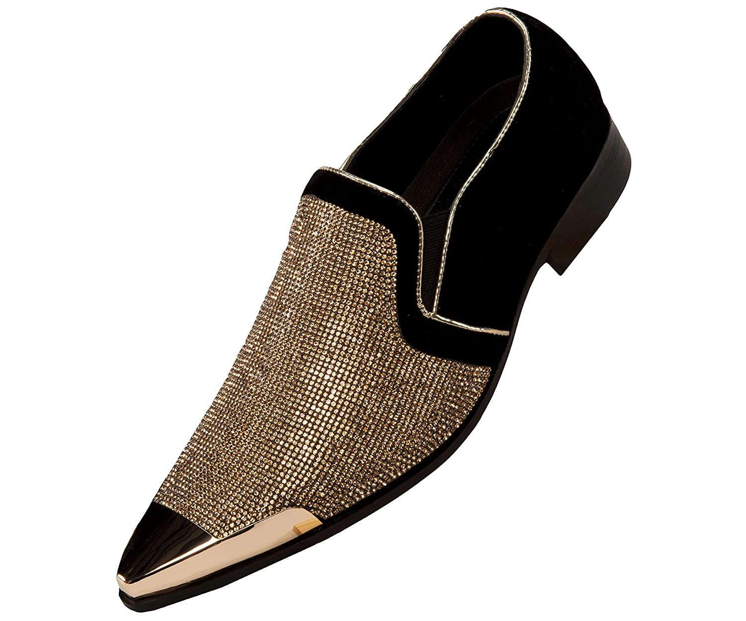 Bolano Mens Rhinestone Embellished and Faux Suede Trim with Metal Tip Dress Shoe, Comfortable Slip-On B07B1S6CZK 14 D(M) US|Black/Gold