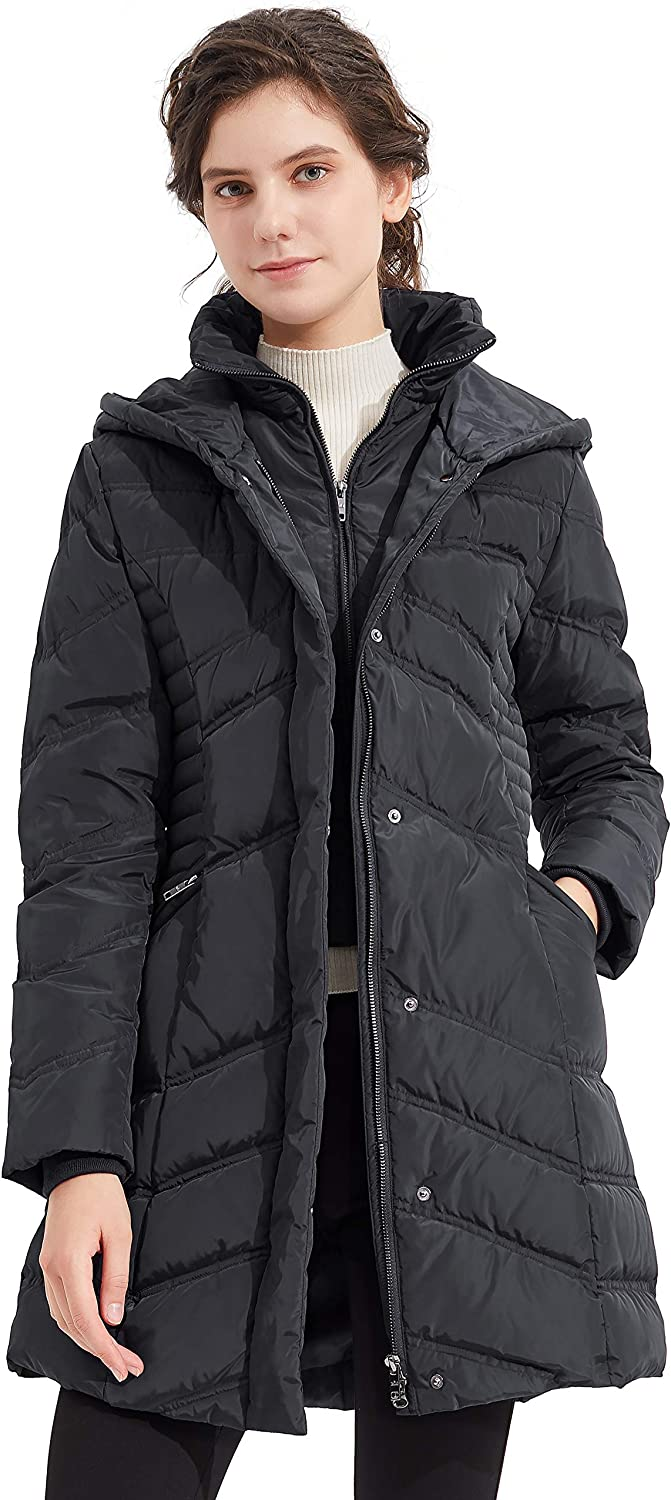 Orolay Womens Hooded Down Jacket Winter Mid Coat Slim Quilted Puffer Jacket