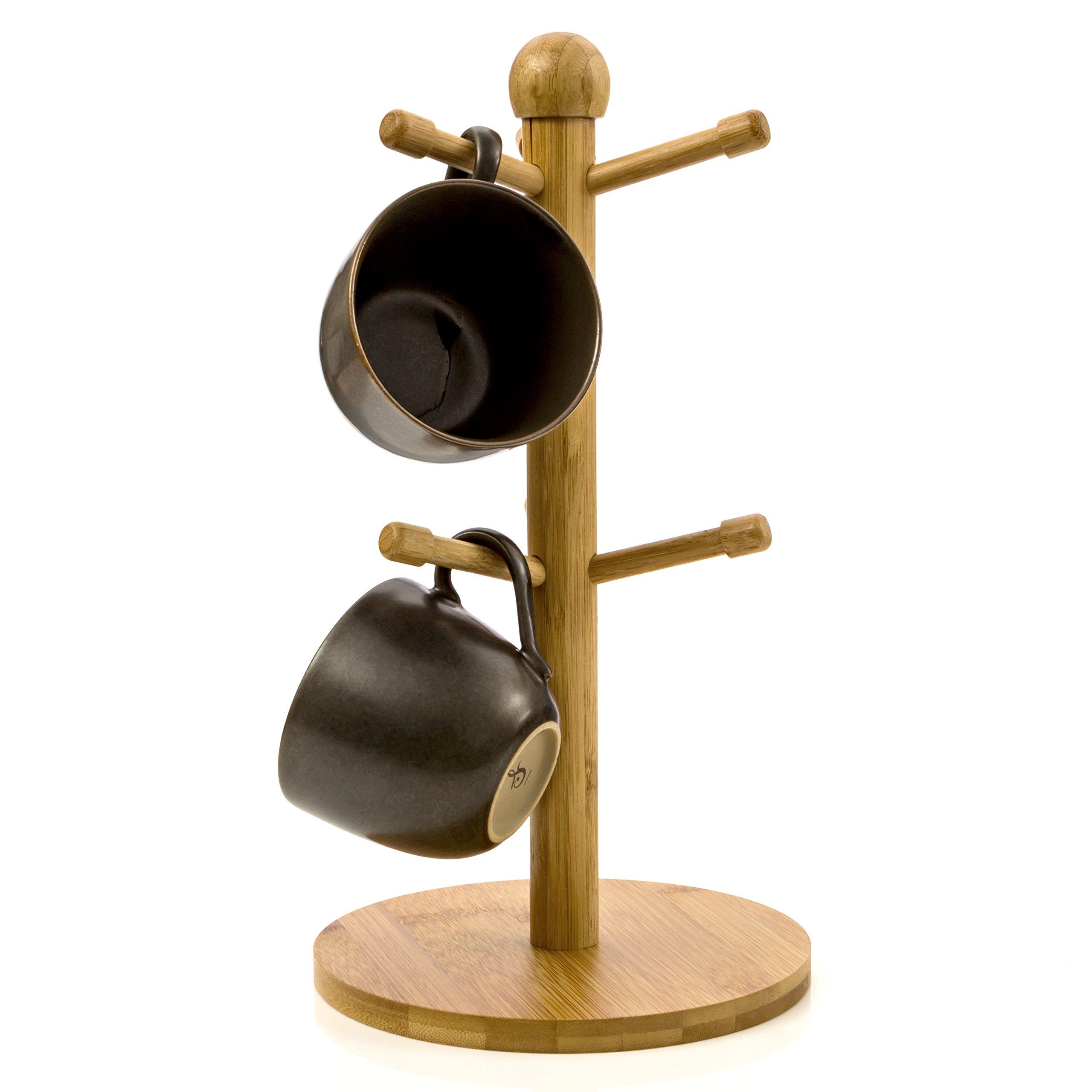 Mug Tree Mug Hook Mug Storage 6 Coffee Cup Mug Tabletop Holder Made of Organic Bamboo Wood By Intriom Bamboo Collection