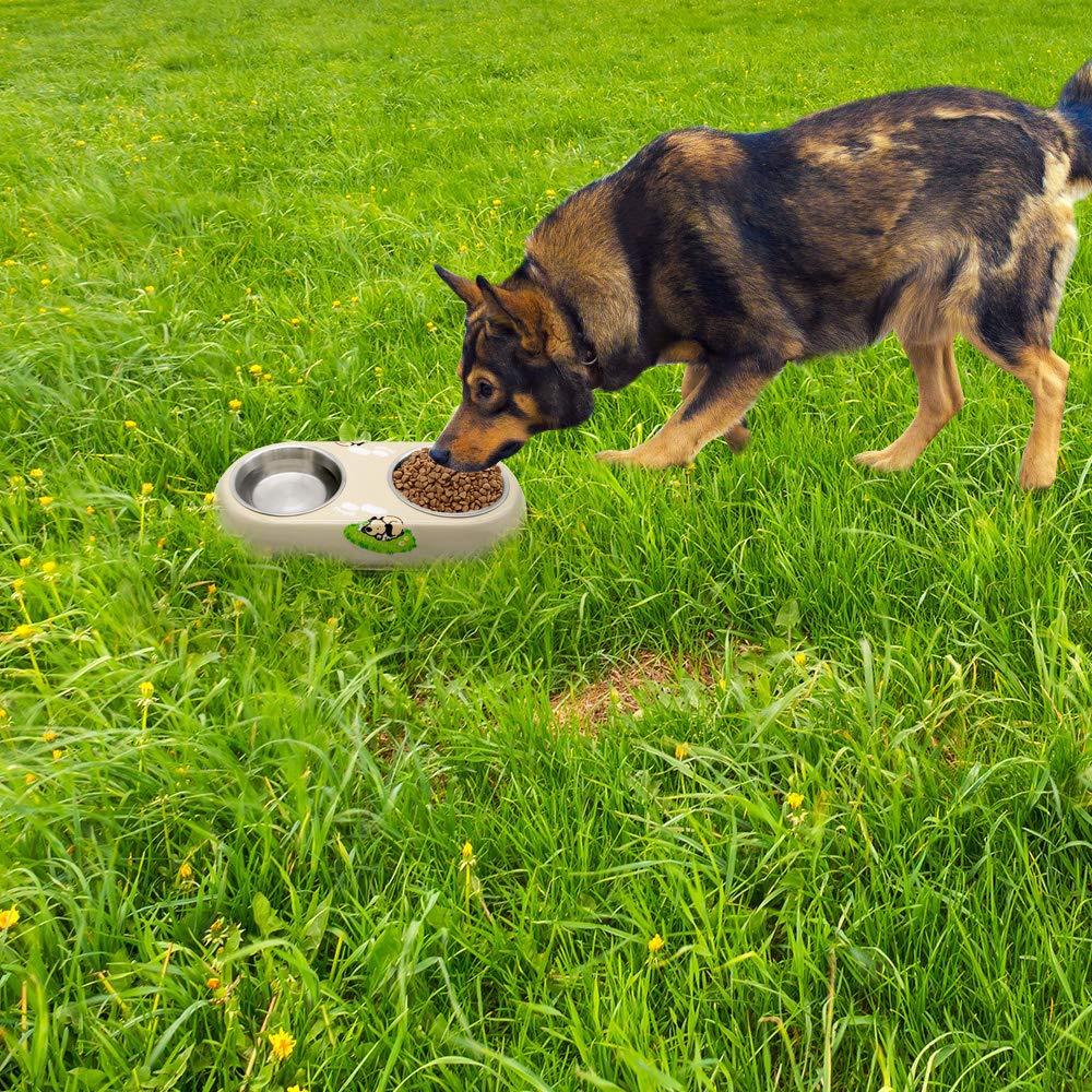 300ml*2 Supet Comedero para Perro Gato Mascota Taz/ón de Agua Alimentaci/ón Cuencos con Dos Tazas de Acero Inoxidable y Una Base de Silicona Antideslizante