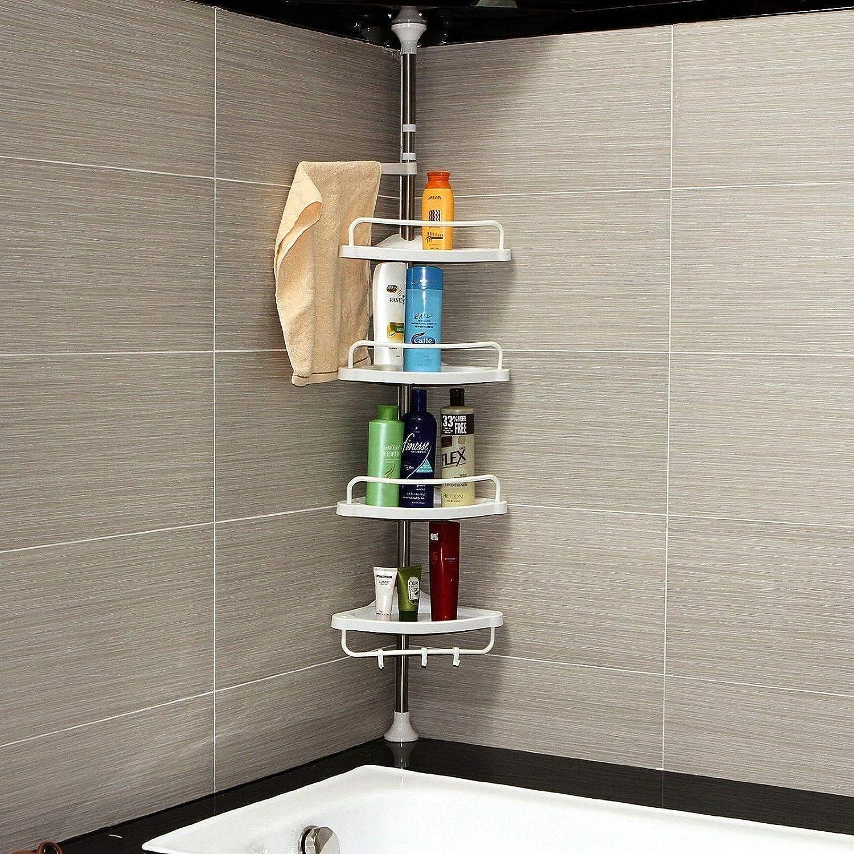 DHOUTDOORS 4 Tier Adjustable Telescopic Shelf Bathroom Organiser Corner Rack Shower Shelf Caddy Holder 100cm - 246cm