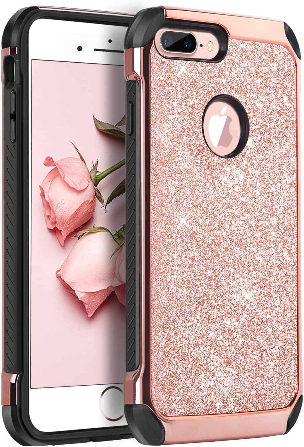 BENTOBEN iPhone 7 Plus Case, Glitter Sparkly Shockproof Slim Laminated with Luxury Shiny Faux Leather Protective Case for iPhone 7 Plus (5.5 inch), Rose Gold
