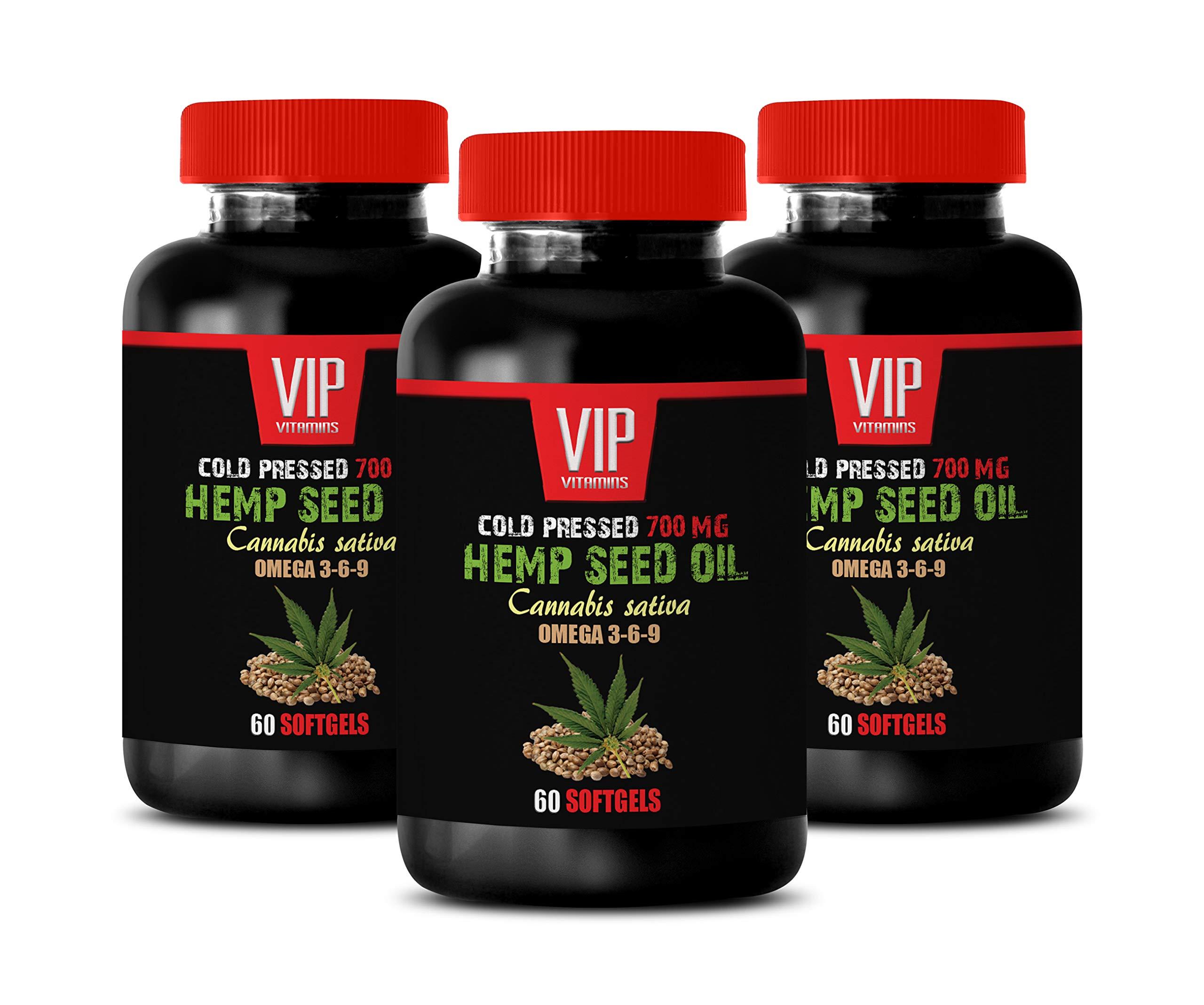 Stress Relief Vitamins for Women - Hemp Seed Oil - Cold Pressed 700 MG - Hemp Oil 700 mg - 3 Bottles 180 Softgels