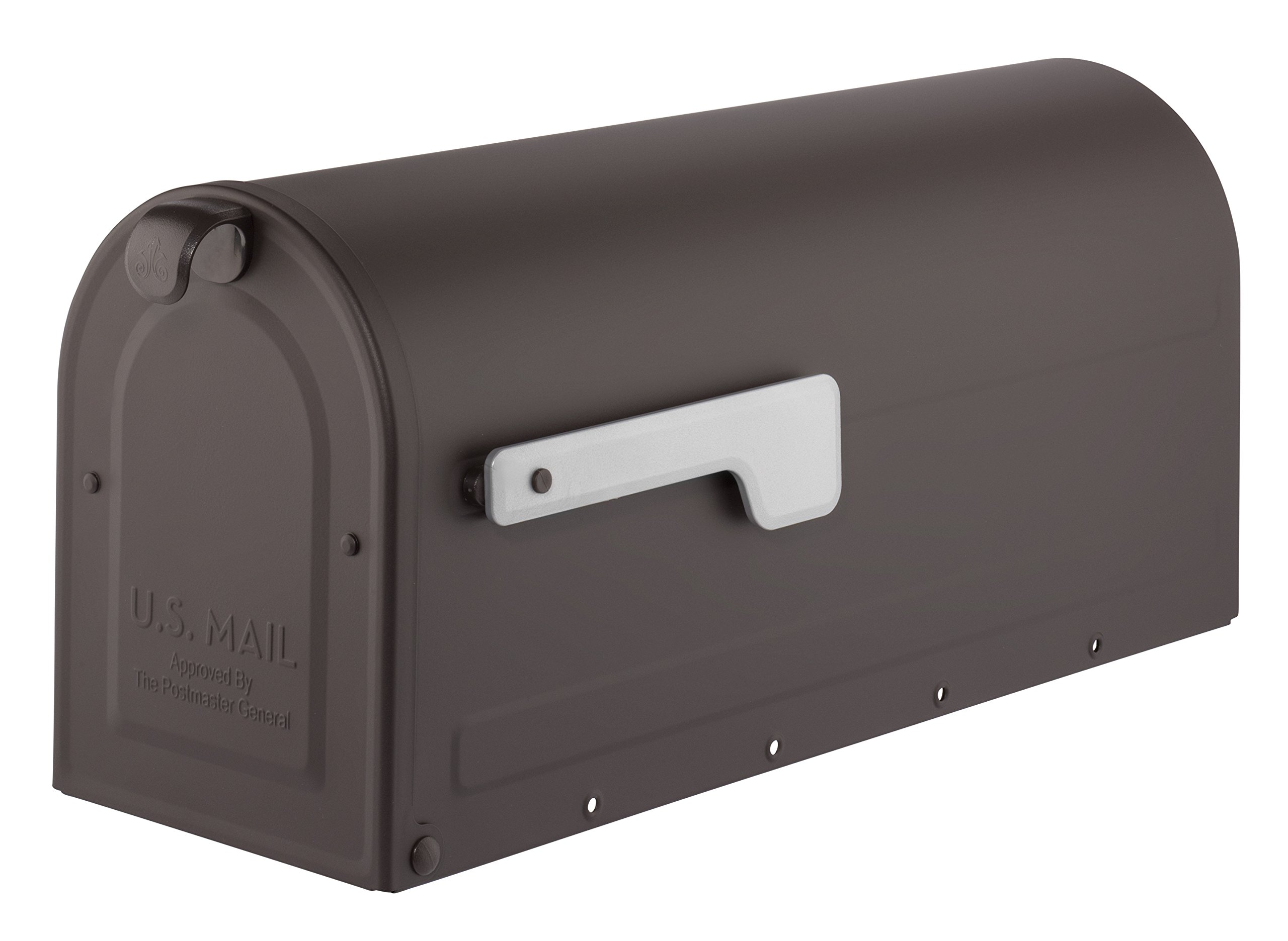 ARCHITECTURAL MAILBOXES 7600RZ Architectural Mailboxes MB1 Post Mount Mailbox with Silver Flag MB1 Post Mount Mailbox, Medium, Rubbed Bronze by ARCHITECTURAL MAILBOXES