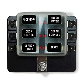 50 caliber racing universal 6 way standard led circuit blade fuse box kit  suitable for automotive