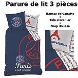 Parure de lit (3pcs) - Housse de Couette + Taie d'Oreiller + Drap housse - Imprimé PSG Red Score