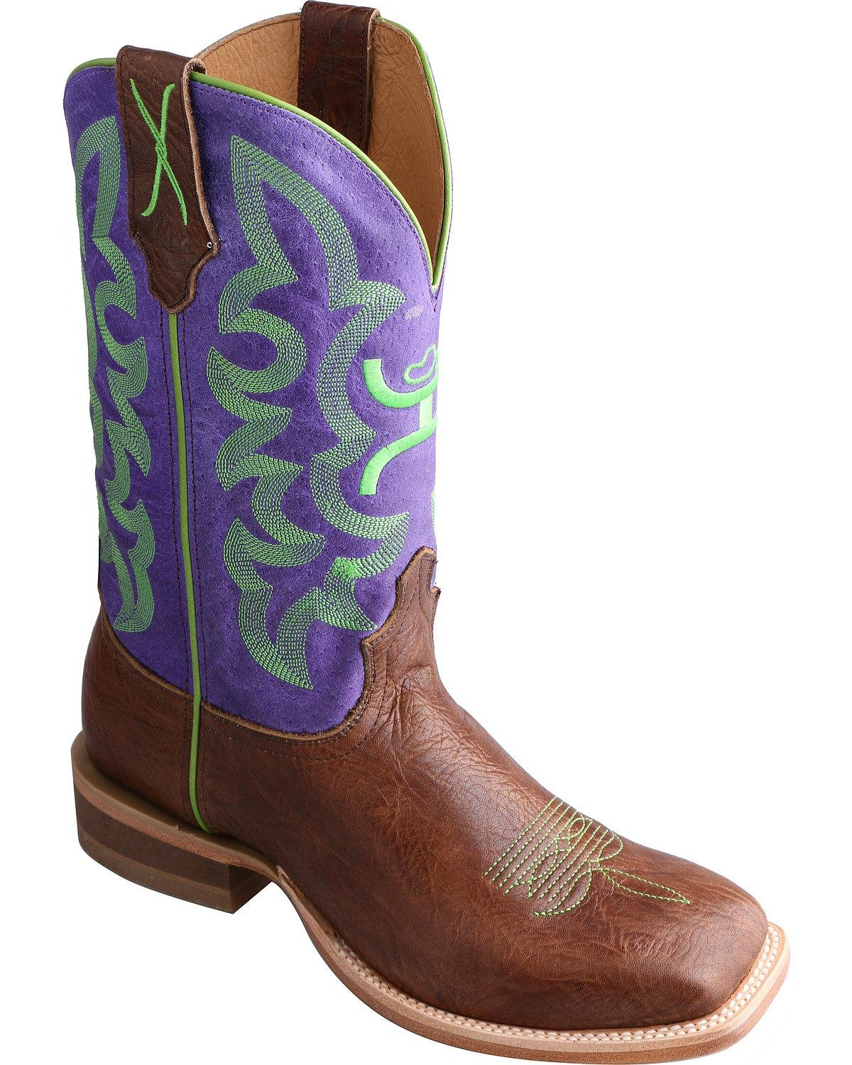 Twisted X Women's Hooey Purple Cowgirl Boot Square Toe - Why0005 B014K2TZ36 7.5 B(M) US|Brown