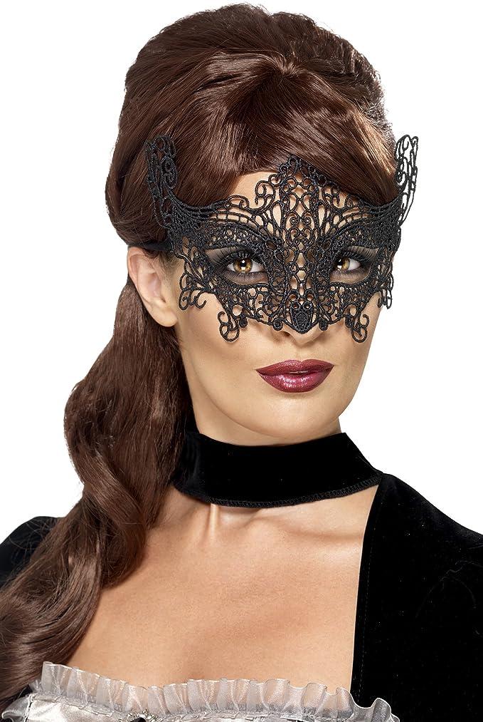 Smiffys 45227 Déguisement - Femme - Masque de Bal Masqué, Noir, Taille Unique