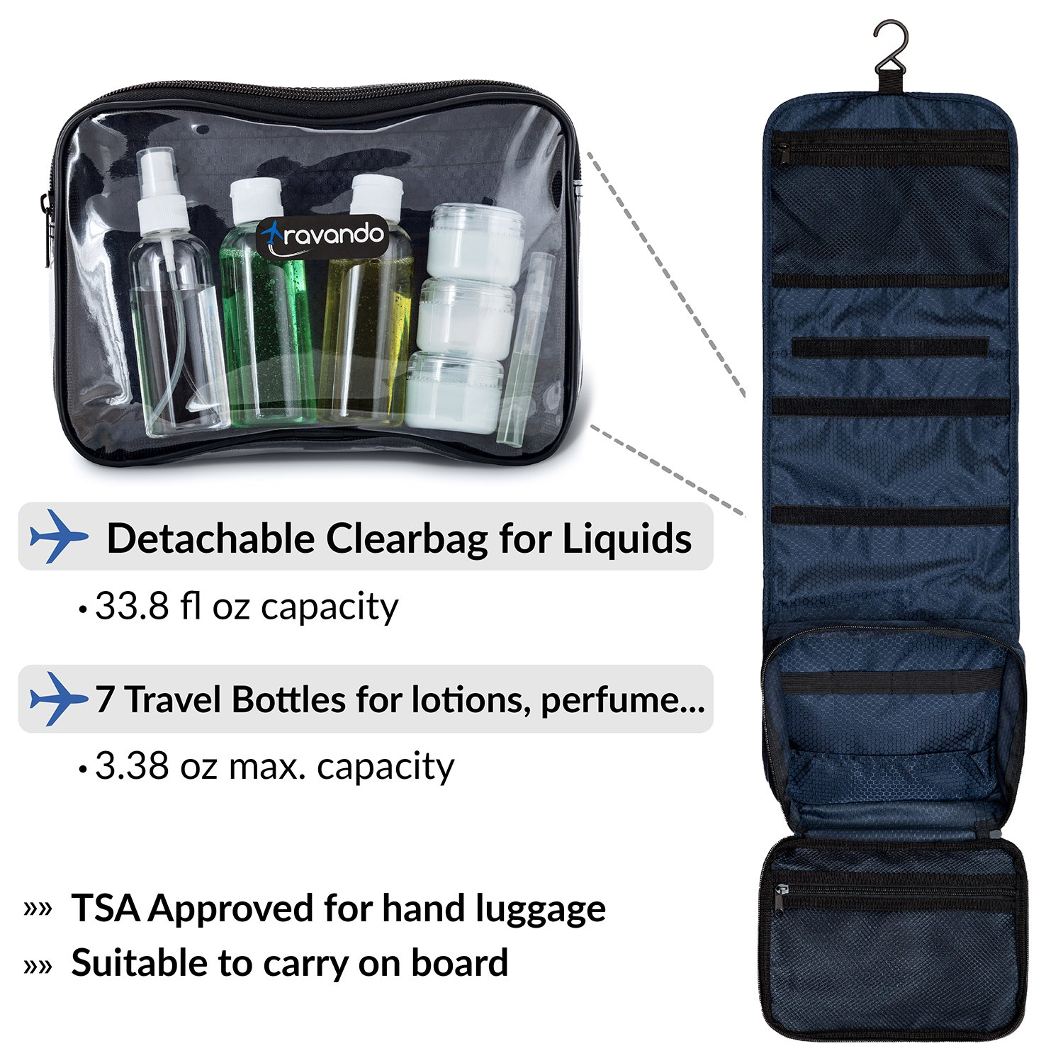 TRAVANDO Hanging Toiletry Bag ''FLEXI'' + 7 Containers for Liquids | Travel Set for Men and Women | Toiletry Kit for Cosmetics, Makeup | Toilet Organiser Suitcase Roll Wash Bag by TRAVANDO (Image #1)
