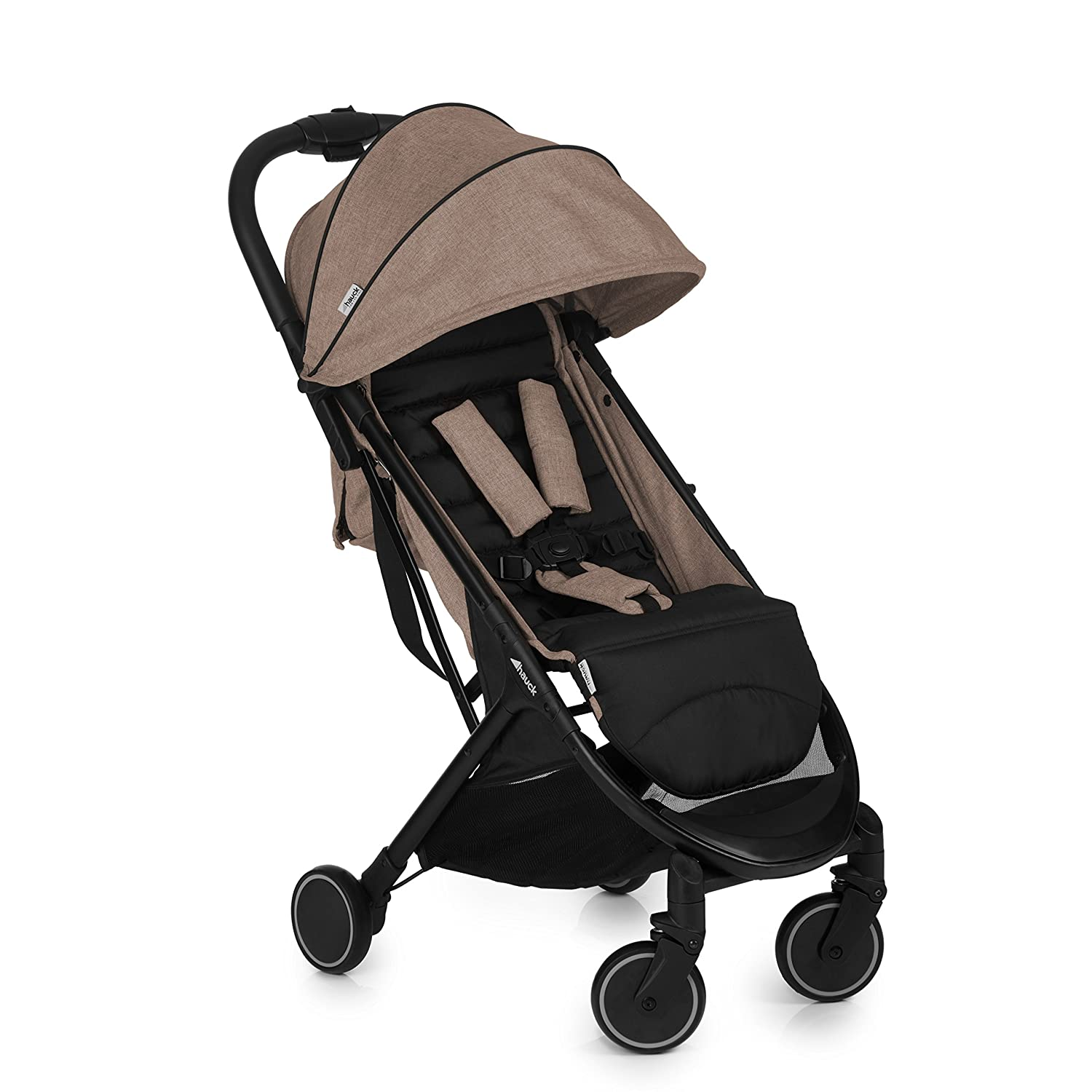 Hauck Swift One Hand Compact Fold Pushchair with Raincover, Melange Beige/Black 160015