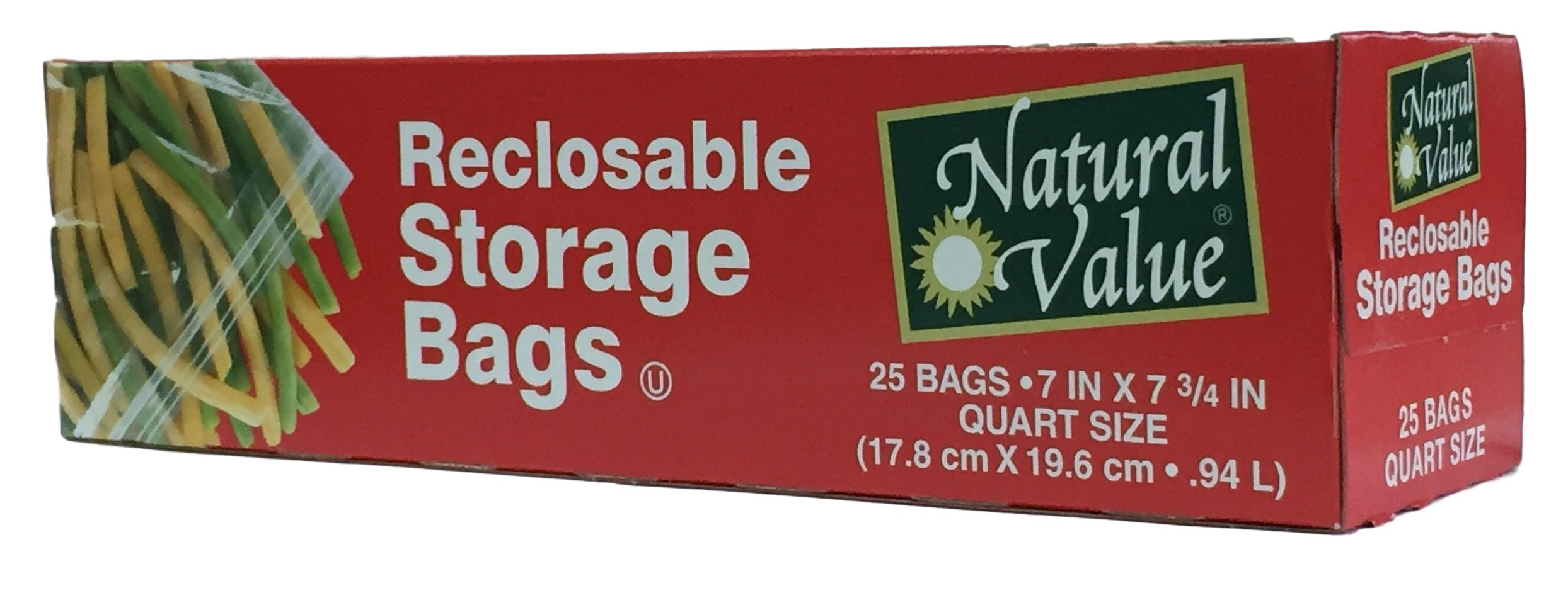 Natural Value - Recloseable Storage Bags - Quart - 25-Count - Pack of 3