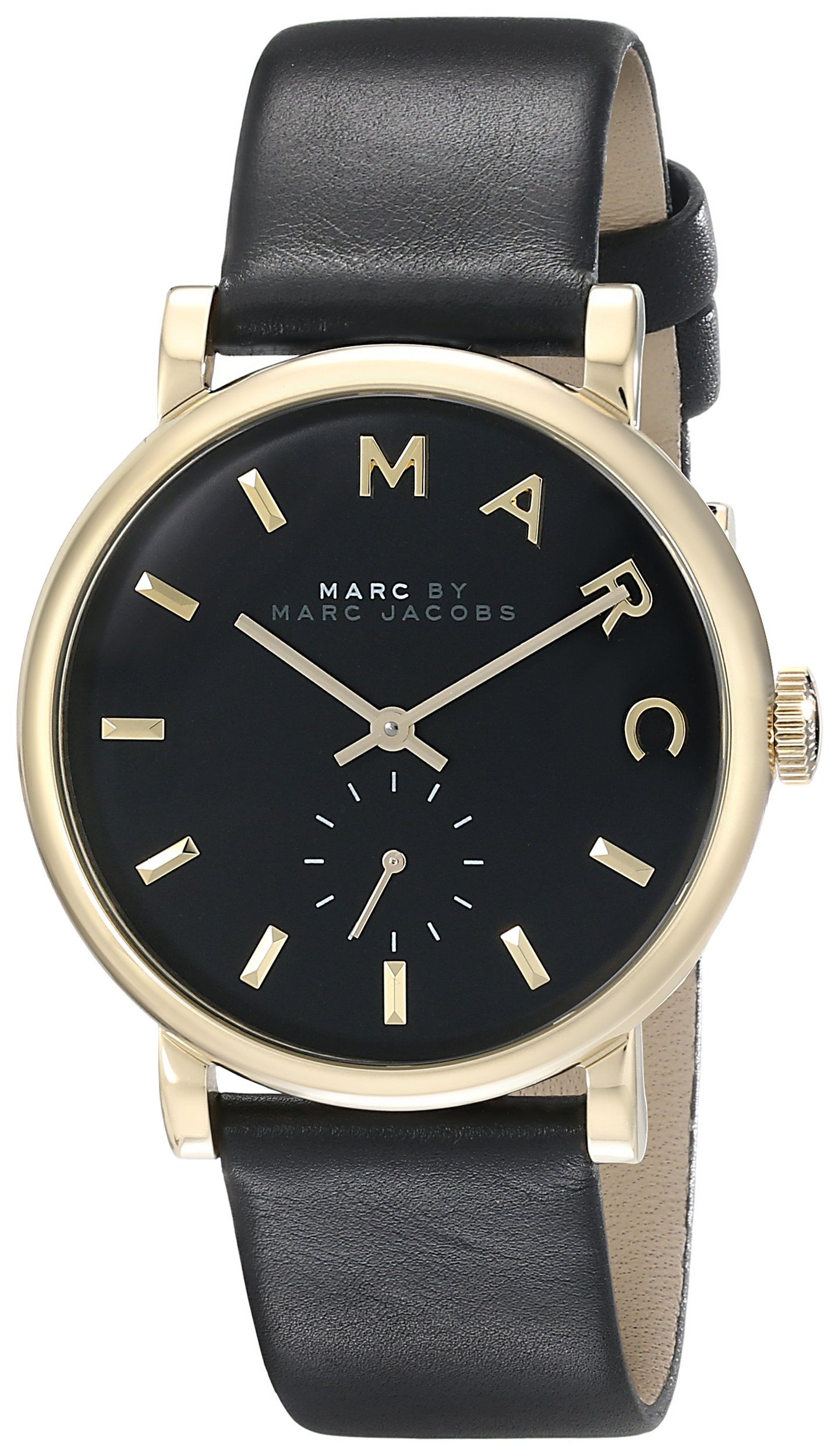 Marc by Marc Jacobs Women's MBM1269 Baker Gold-Tone Stainless Steel Watch with Black Leather Band