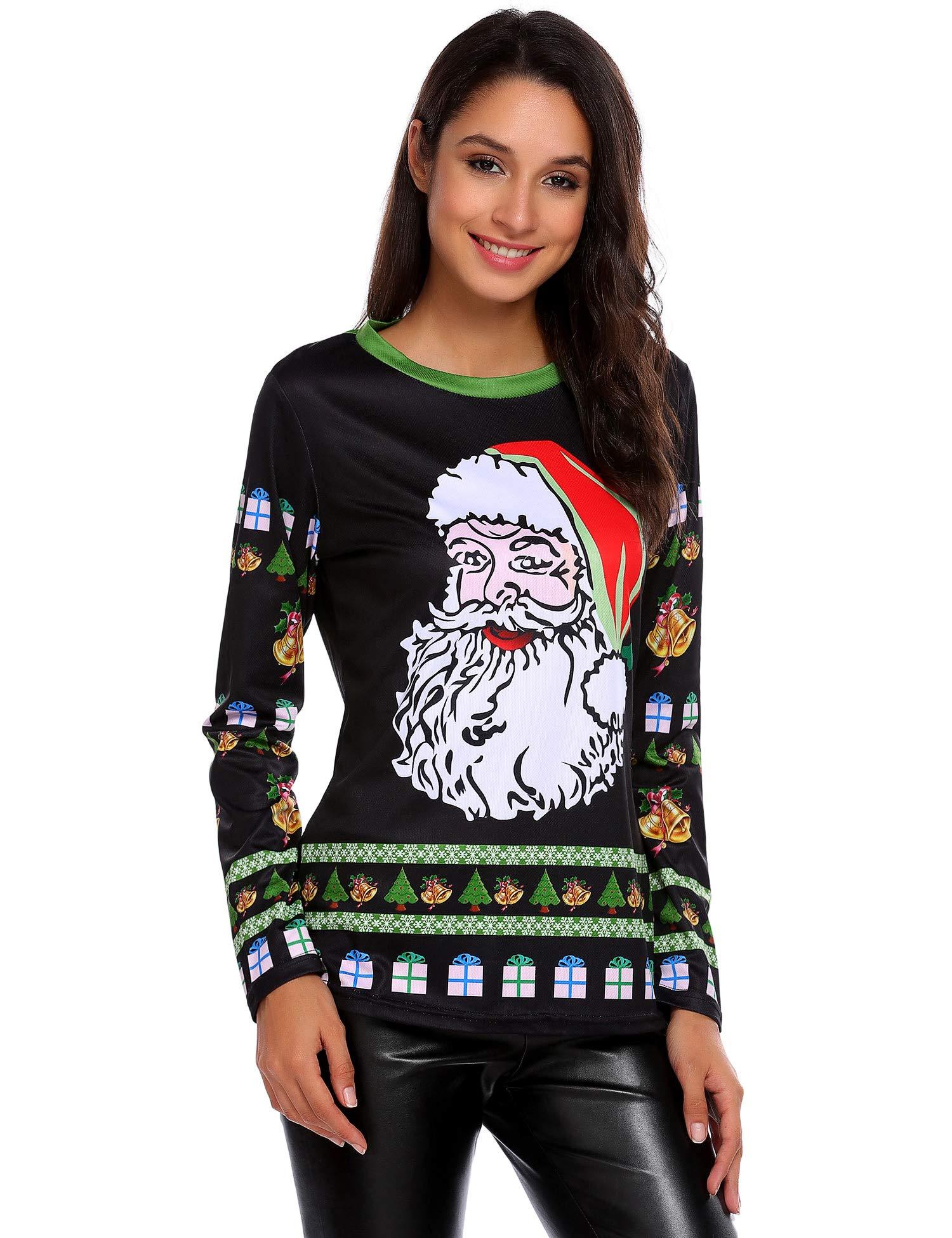 Yhlovg Women's Long Sleeve Christmas Santa Pattern Casual Tops