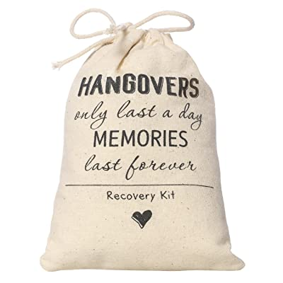 Ling's moment 4x6 inches 10pcs Bachelorette Party Hangover Kit Bags Hangovers Bag Cotton Drawstring Wedding Party Welcome Favor Bags