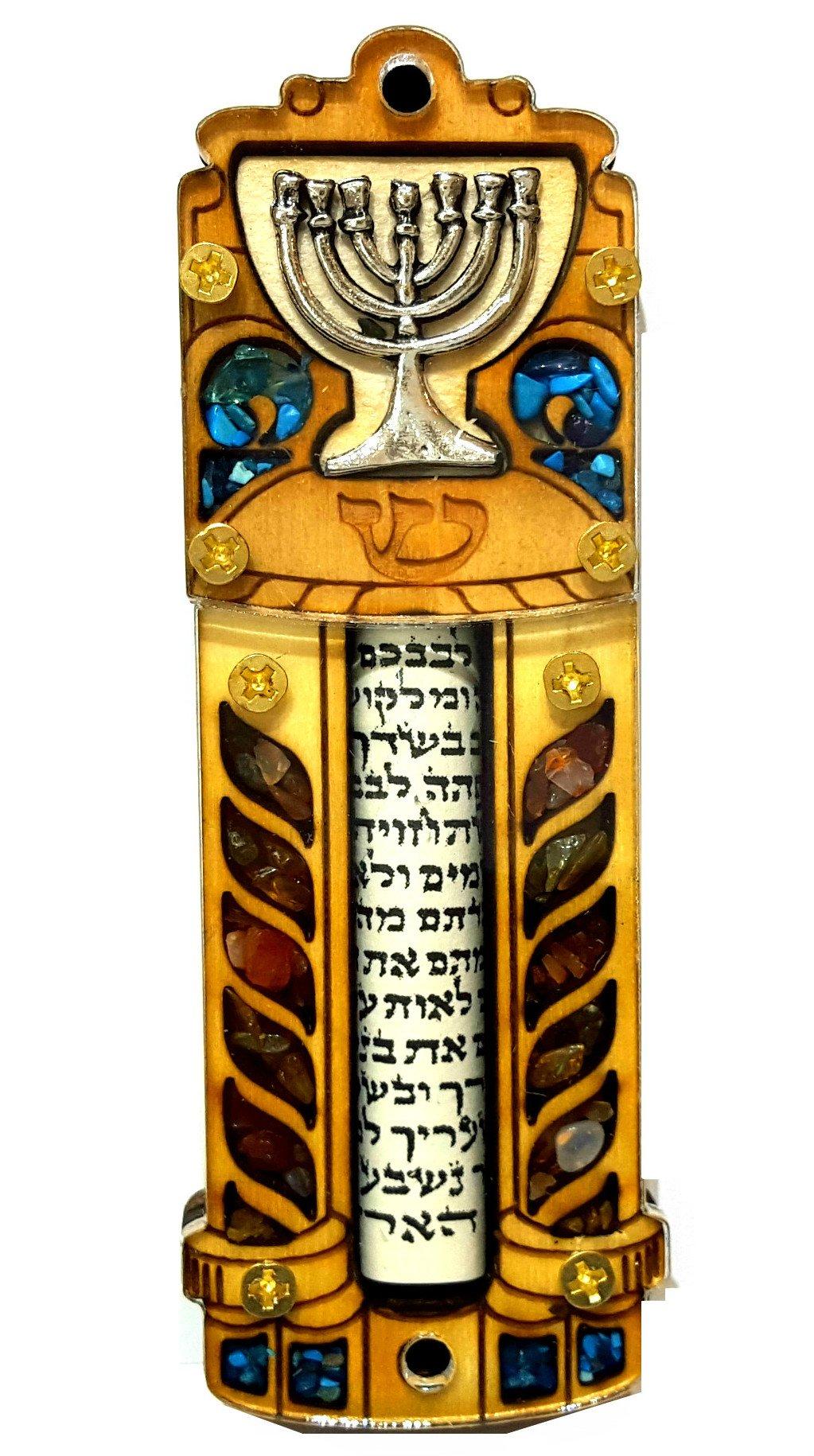 Jewish MEZUZAH CASE With SCROLL Menorah Wood & Gemstones Israel Judaica Door Mezuza 4'' by Talisman4U
