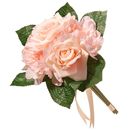 National Tree 12.2 Inch Mixed Peach Rose And Peony Bouquet (RAS 7555RPE 1