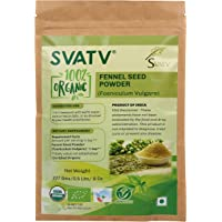 SVATV Organic Fennel Seed Powder (Foeniculum vulgare) 1/2 LB, 08 oz, 227g USDA Certified - Made in India