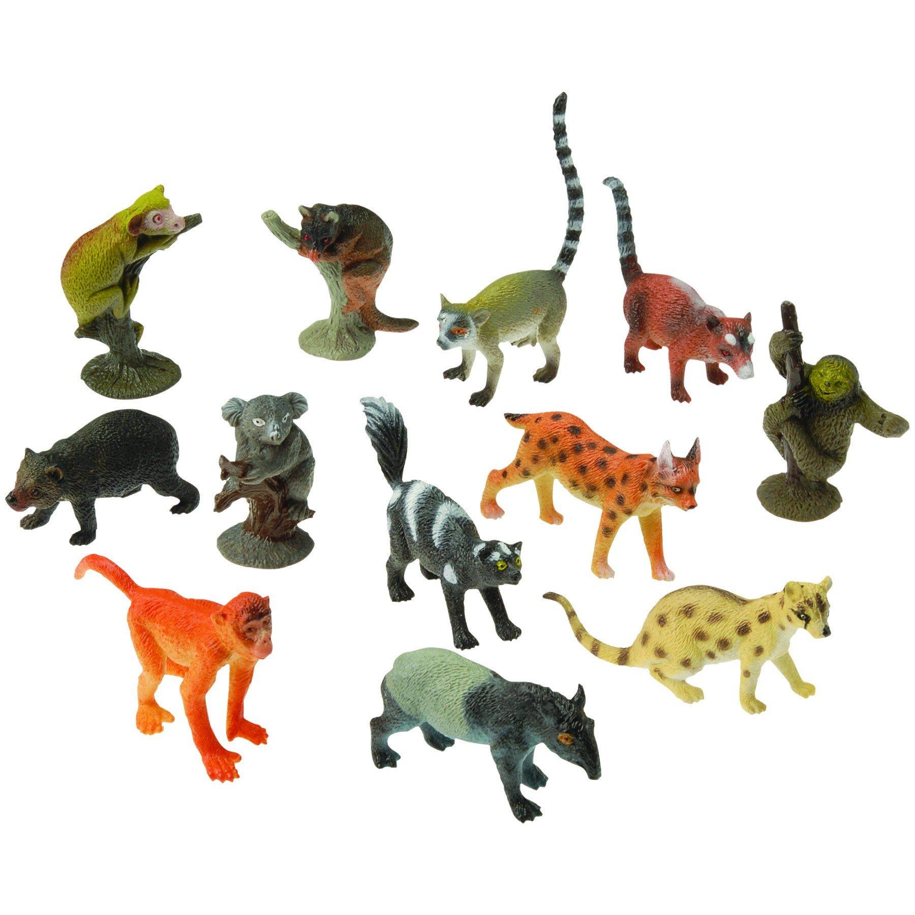2 Dozen (24) Mini RAINFOREST ANIMAL Toy Figures - 1.5'' - 2.5'' PARTY Favors - Prizes - Pretend Play Gorilla APE Sloth LEMUR