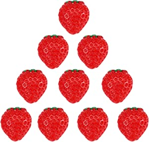 Airssory 10 Pcs Strawberry Slime Charms Fruit Resin Cabochons Imitation Food Red Flatbacks Buttons Beads for Miniature Fairy Garden Hair Accessories Home Decoration Scrapbooking Embellishment - 20mm