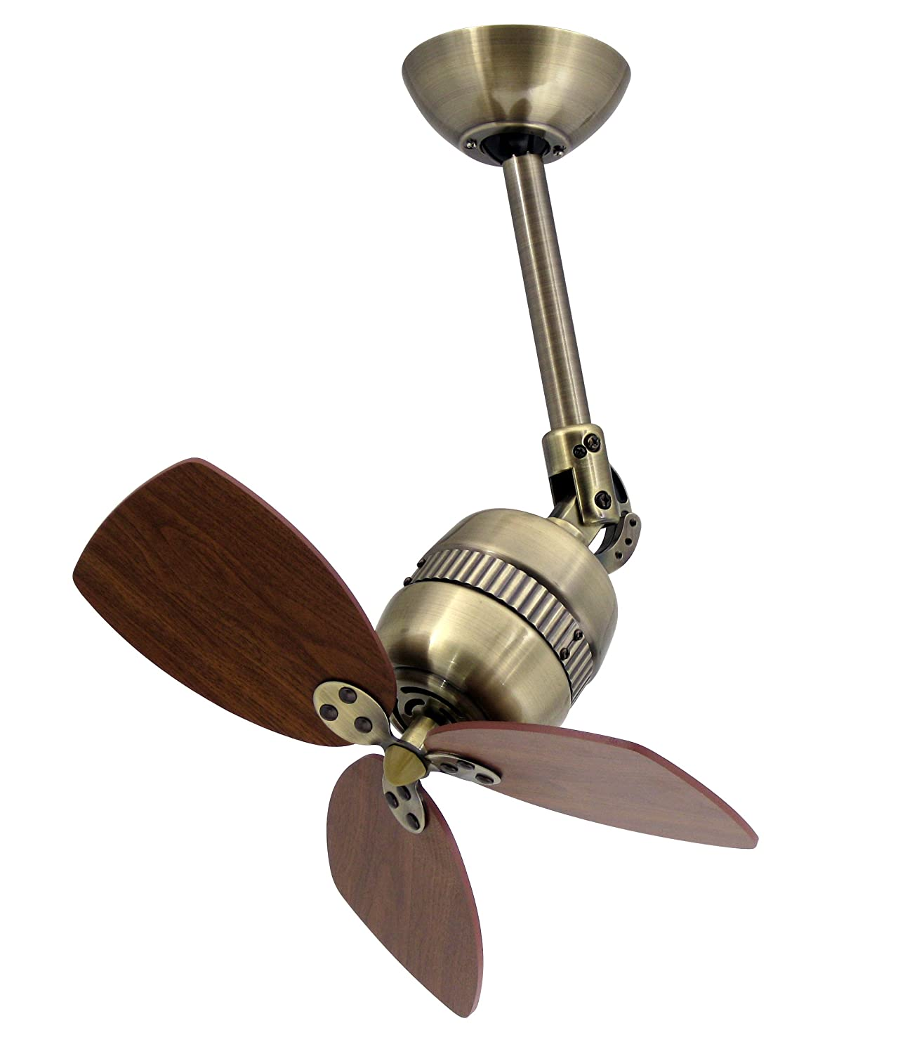 Ceiling Fan Propeller Toledo in Antique Brass with Wall Control, Blades Walnut AireRyder FN11146