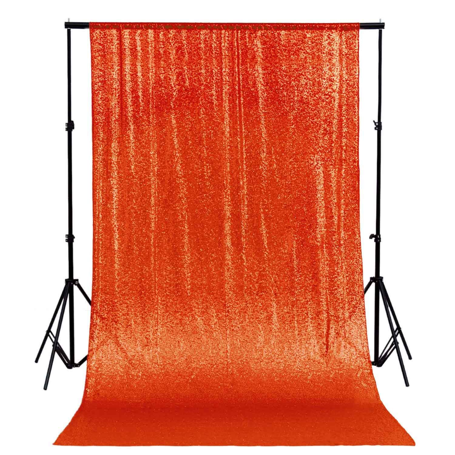 ShinyBeauty Photo Booth Backdrop Best Choice-4FTx6FT- Sequin Photobooth Backdrop for Weddings and Events, Wedding Decoration Fabric, Sparkle Curtain for Backdrop (4FTx6FT, Orange) by ShinyBeauty
