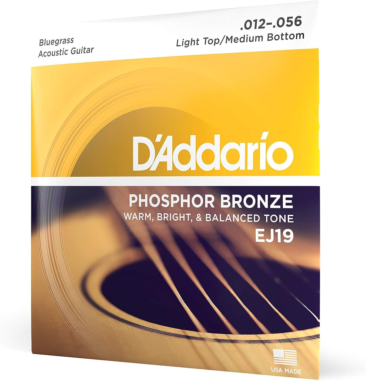 D'Addario EJ19 - Juego de cuerdas para guitarra acústica y guitarra eléctrica de fósforo/bronce, 012' - 056'