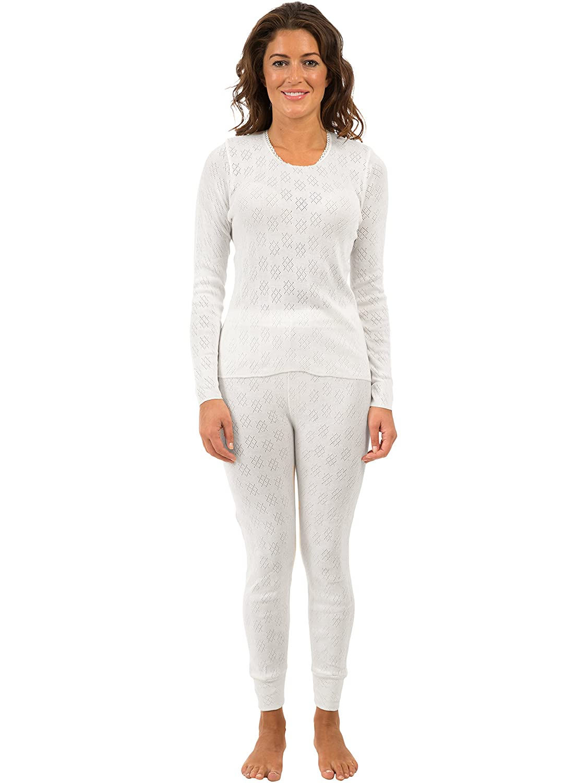 2 unidades mexicana para mujer/mujer ropa interior térmica conjuntos blanco manga larga Chaleco y Long Janes/pantalones, varios tamaños blanco blanco 46/48: ...