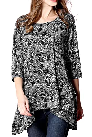 7f16f5f06af Girl2Queen Summer Women s 3 4 Sleeve Tunic Top Plus Size