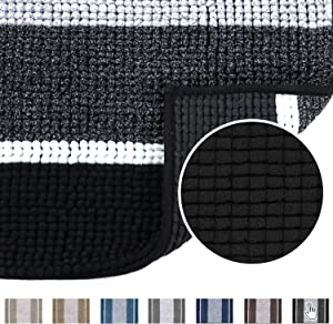 Luxury Chenille Microfiber Floor Mat for Living Room Bedroom, Gradient Black Stripe Pattern Shag Plush Rug, Soft Non Slip Absorbent Bathmat Machine Washable Home Decor, 20×32 inch