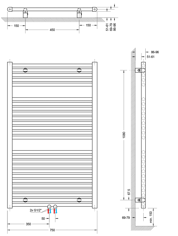 alpin-wei/ß 451 Watt Mittelanschluss 77 x 50 cm Schulte Bad-Heizk/örper M/ünchen Design-Heizk/örper f/ür Zweirohrsysteme