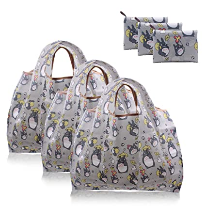 5747ce930589 Finex - Set of 3 - My Neighbor TOTORO Foldable Reusable Tote Recycle  Shopping Bag in a mini Tote - lightweight portable large capacity