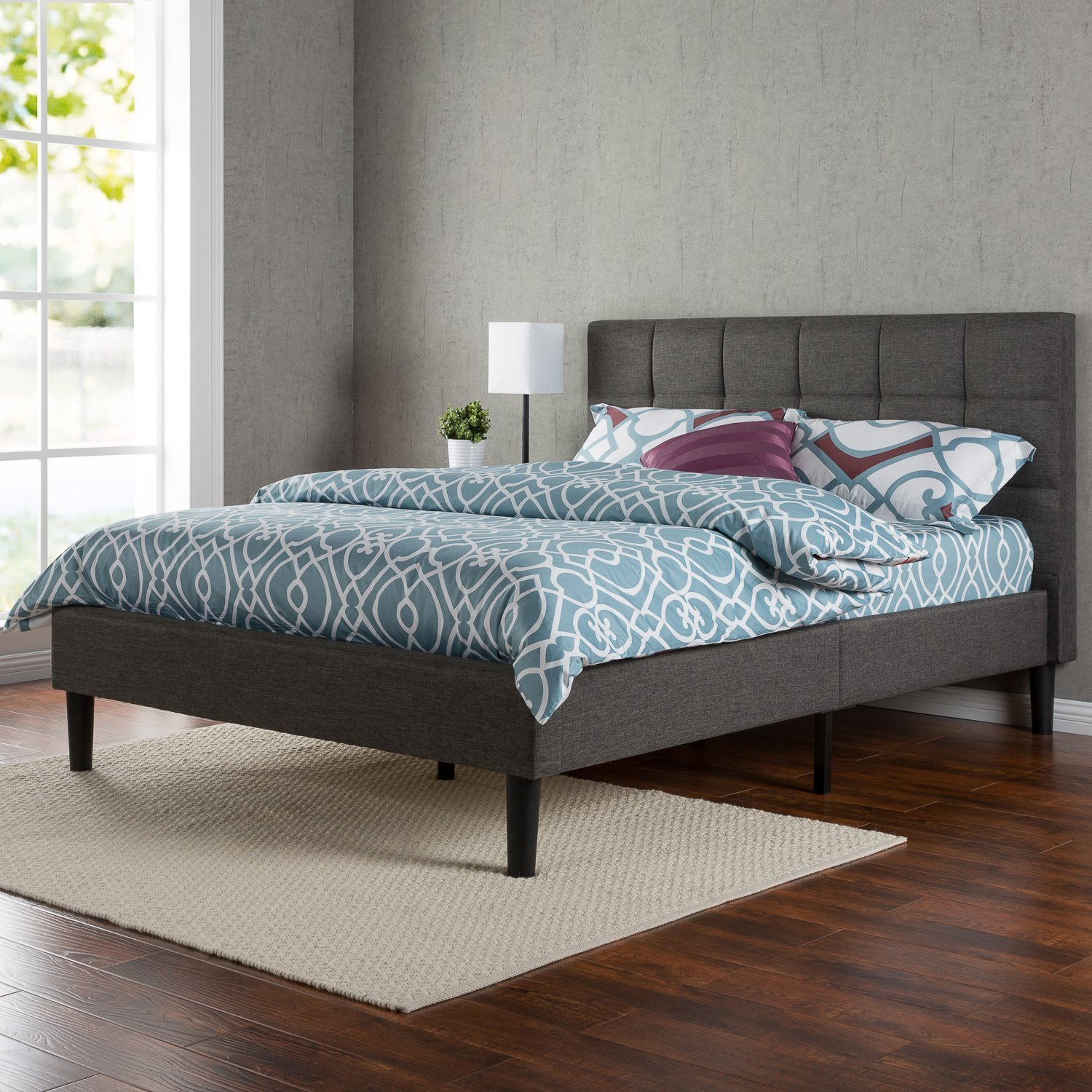 zinus upholstered square stitched platform bed with wooden slats queen