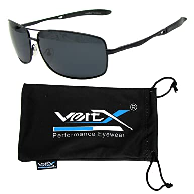 dd3ba83d45 VertX Men s Polarised Metal Aviator Sunglasses Spring Hinge Fishing Driving  Golf Outdoor - Black Frame - Smoke Lens  Amazon.co.uk  Clothing