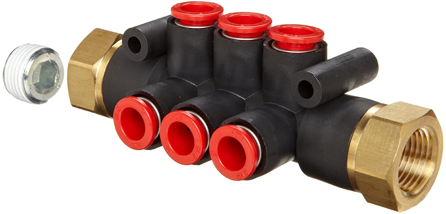 Pack of 5 SMC KM12-09-36-6 PBT Push-To-Connect Tubing Manifold 6 Outlets-5//16 Tube OD 2 Inlets-3//8 NPT Female Black