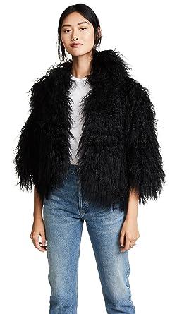ec6a5c1a2041 Amazon.com: Adrienne Landau Women's Mongolian Lamb Jacket: Clothing