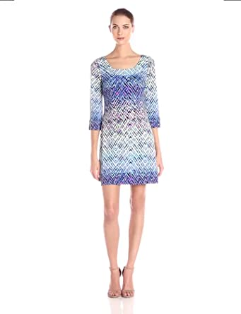 Jessica Simpson Women's Purple Printed ITY Dress with Back Detail, Ombre Ziggy, 8