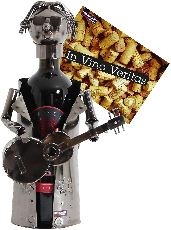 BRUBAKER Wine Bottle Holder Rockstar Metal Sculpture Gift