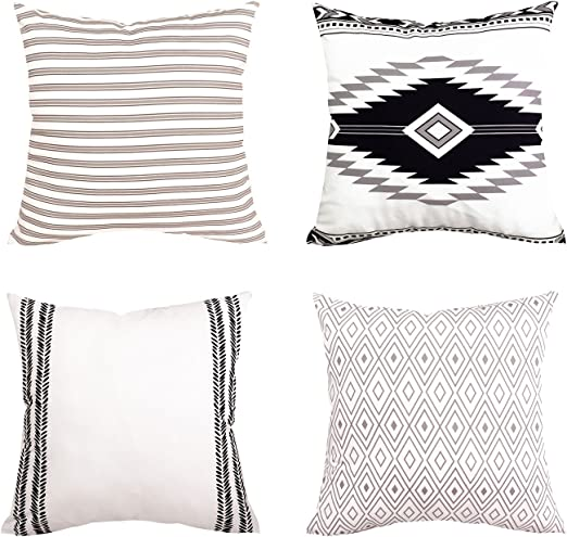 Yastouay Modern Pillow Covers Boho Pillow Covers Decorative Throw Pillow Case Set Home Decor Cushion Cover for Sofa Couch Bed and Car 4 Pack (Simple Strings, 20