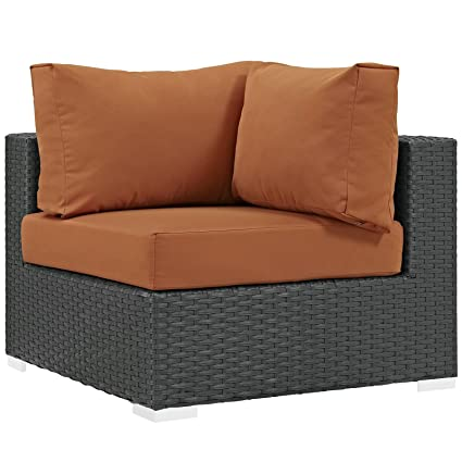 Modway Sojourn Outdoor Patio Rattan Sofa Sectional Corner With Sunbrella  Brand Tuscan Orange Canvas Cushions