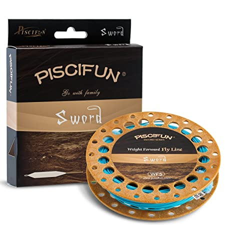 Piscifun Sword Weight Forward Floating Fly Fishing Line with Welded Loop WF5wt 100FT Sky Blue