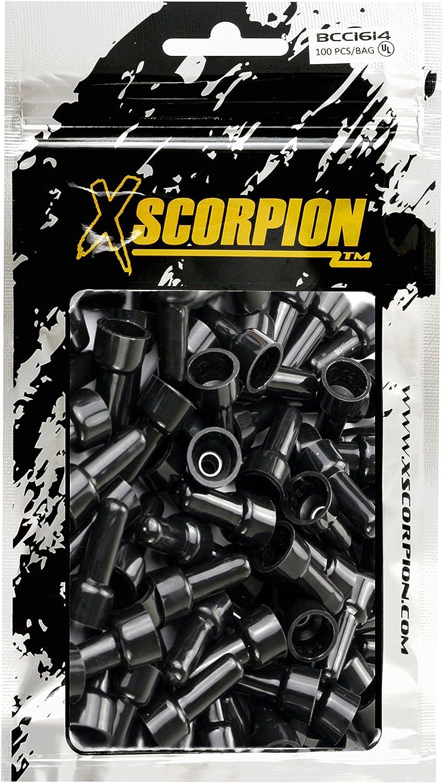 Black XScorpion BCC1614-1 Closed End Crimp Cap Gauge Wire Connector Terminal 1000// Bag
