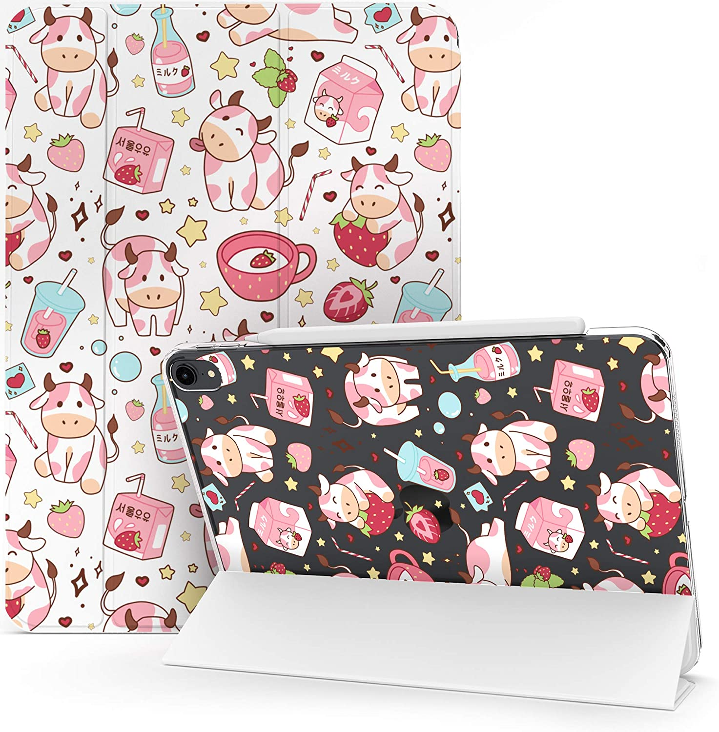 Lex Altern Case Compatible with iPad Pro 12.9 2020 11 Air 4 3 2 10.2 8th Gen 2019 2018 10.5 inch Mini 5 9.7 Clear Korean Kawaii Cow Pink Strawberry Milk Smart Cover Cute Protective Lightweight mch100