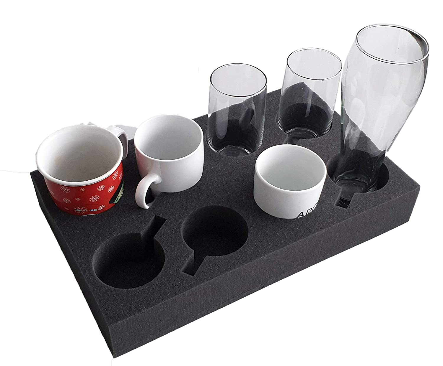 Cup Holder Glass Holder for up to 12 Pieces Foam for Camping Caravans Motorhomes Boats