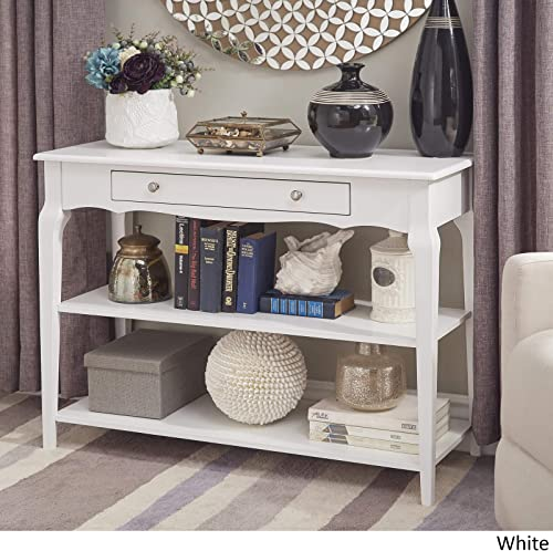 Modern Console Table – TV Stand with Center Drawer and 2 Lower Shelves – Accent Living Room Furniture White