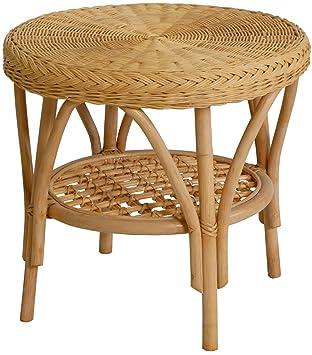 Rattan Tisch Beistelltisch Rund In Der Farbe Honig