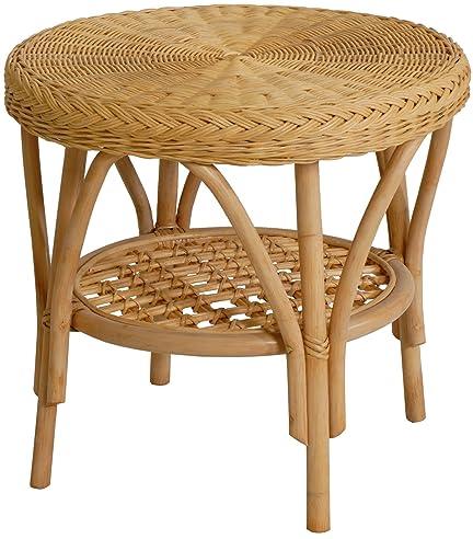 Rattan-Tisch / Beistelltisch Rund in der Farbe Honig ...