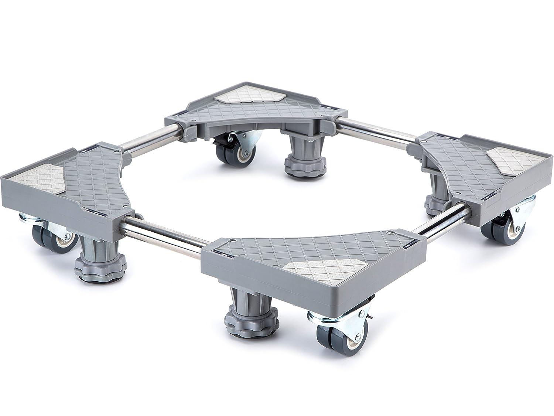 Smonter multi-funzionale mobili base regolabile con 4× 2bloccaggio gomma ruote girevoli e 4Strong piedi mobile case roller Dolly per lavatrice, asciugatrice e frigorifero, grigio