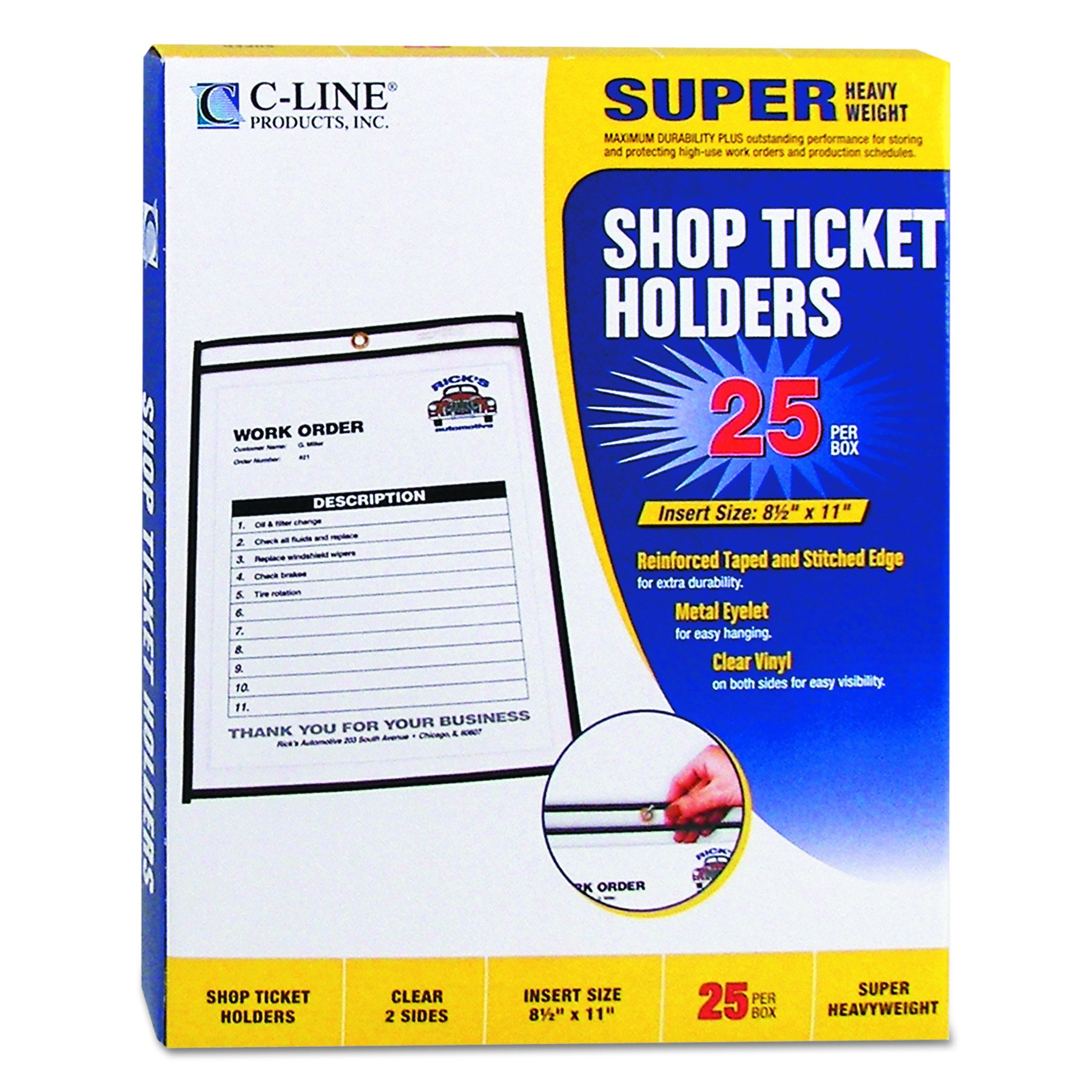 C-Line Stitched Shop Ticket Holders, Both Sides Clear, 8.5 x 11 Inches, 25 per Box (46911) by C-Line