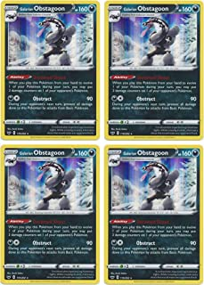 product image for Pokemon Card - Galarian Obstagoon - Sword and Shield Base - x4 Card Lot Playset - 119/202 Holo Rare